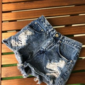 High Waisted Destroyed Denim Shorts